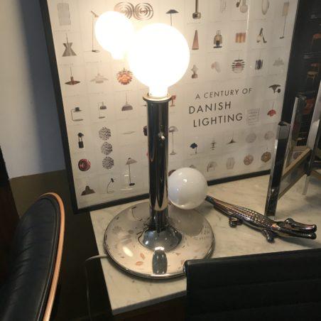 Paire de grandes lampes Danoises métal chromé 70's