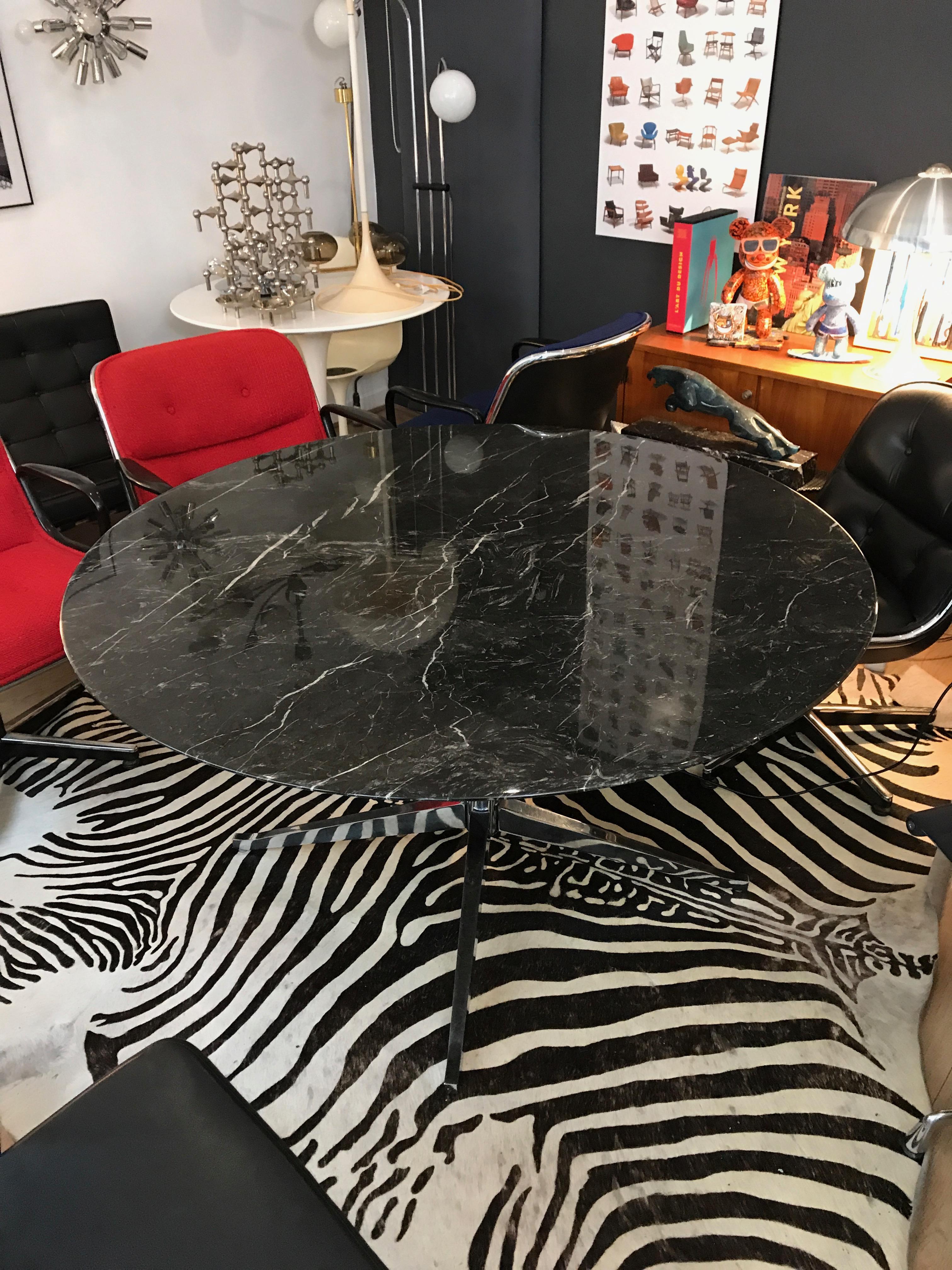 v magnifique table florence knoll marbre grey emperor. Black Bedroom Furniture Sets. Home Design Ideas
