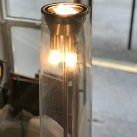 Grand lampadaire Vintage globe verre et acier