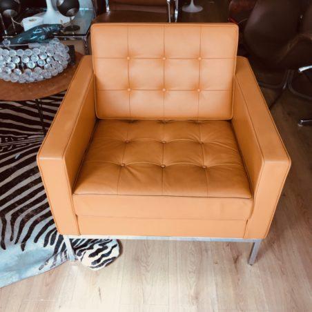 Authentique fauteuil Florence Knoll cuir caramel