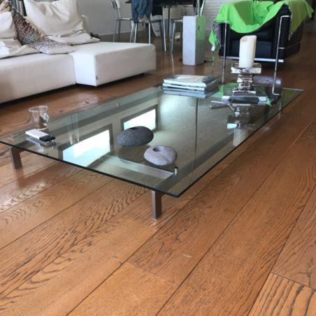 Grande table basse verre et acier Piero Lissoni