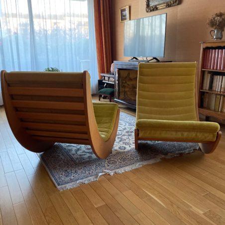 Rare paire de fauteuil basculant design Verner Panton 1974