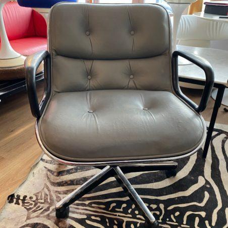 Fauteuil Pollock executive cuir gris patiné