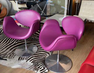 Plusieurs fauteuils Pierre Paulin Little tulip cuir édition Artifort
