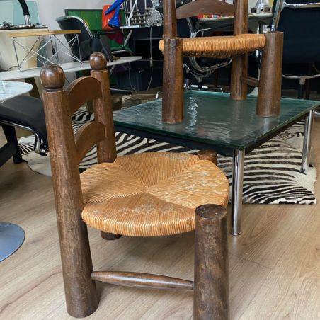 Belle paire de chaises basses pour adultes Charles Dudauyt vers 1940